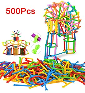 Anda 500 Pcs Building Toy Building Blocks Bars Toys, Creative and Educational 3D Puzzle Games, Interlocking Creative Connecting Kit, Great STEM Toys for Boys and Girls!
