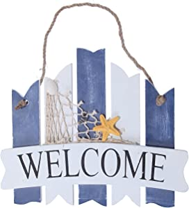 "Juvale Welcome Sign Board - Home Inside Outside Decoration Beach Greeting Ocean Sea Net Star Fish 10"" - Indoor/Outdoor Home/Oceanside/Sea & Shore Decor- Rope, Seashell, Starfish, Beach Theme"