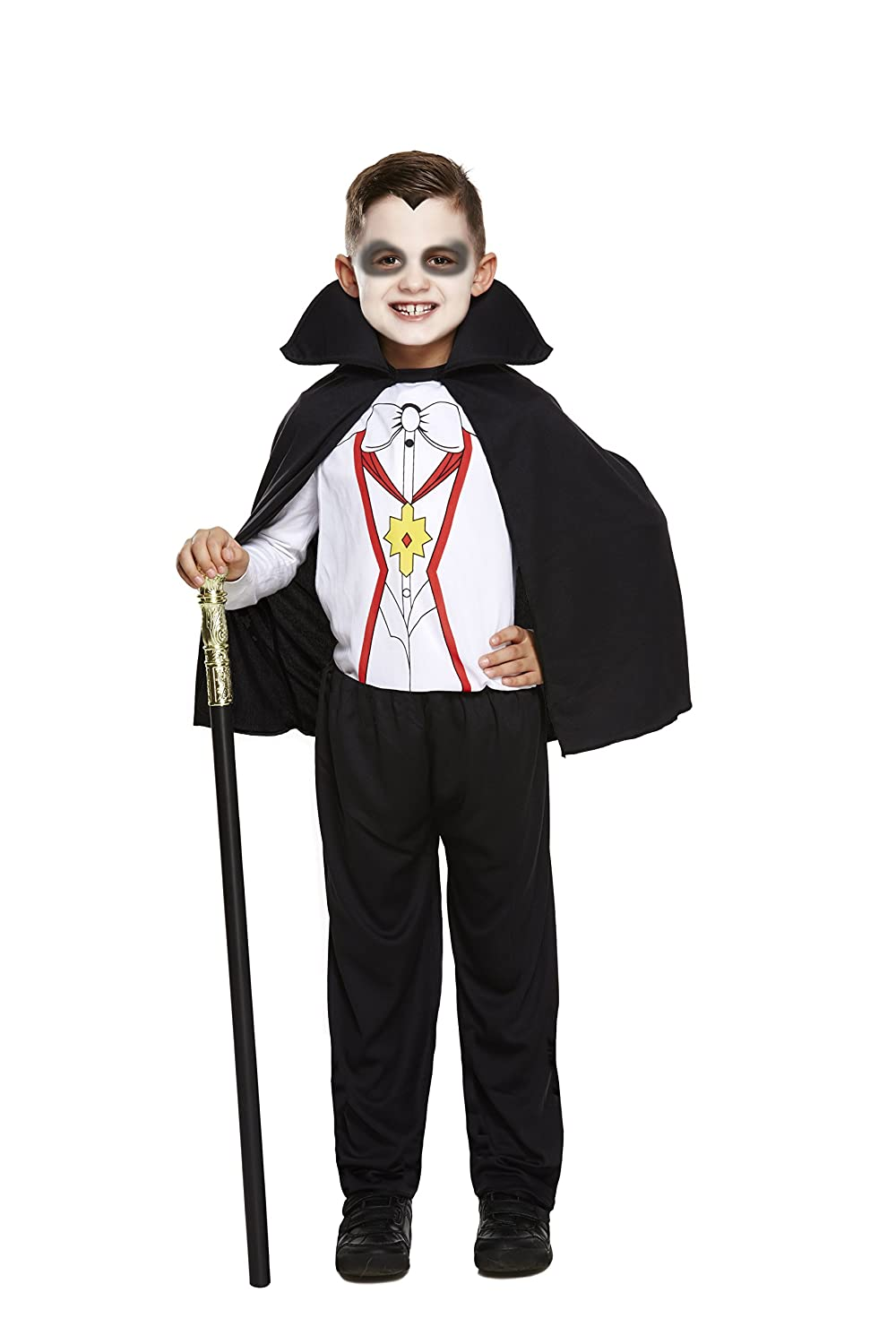 VAMPIRE DRACULA BOYS HALLOWEEN FANCY DRESS COSTUME WITH CAPE TODDLER TO 12 YEARS