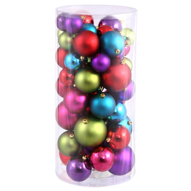 amazoncom 50ct shatterproof multi color shiny matte christmas ball ornaments 15 2 home kitchen - Christmas Balls Ornaments