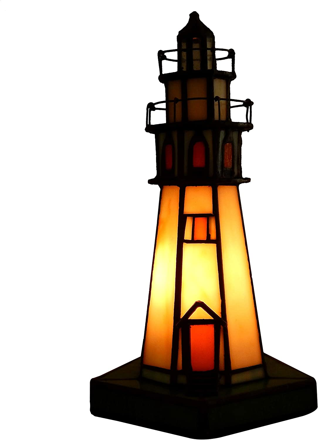 Genuine Stained Glass Table Lamp Featuring a Majestic Rocky Coast Lighthouse Design. Accented with Lookout Windows and Observation Platforms. The Perfect Gift for Any Loved-one, Kitchen or Room