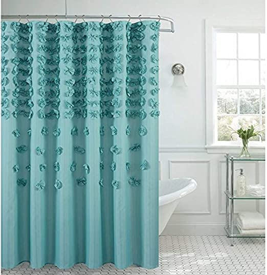 Daniels Bath /& Byound Farfalle Shower Curtain Aqua