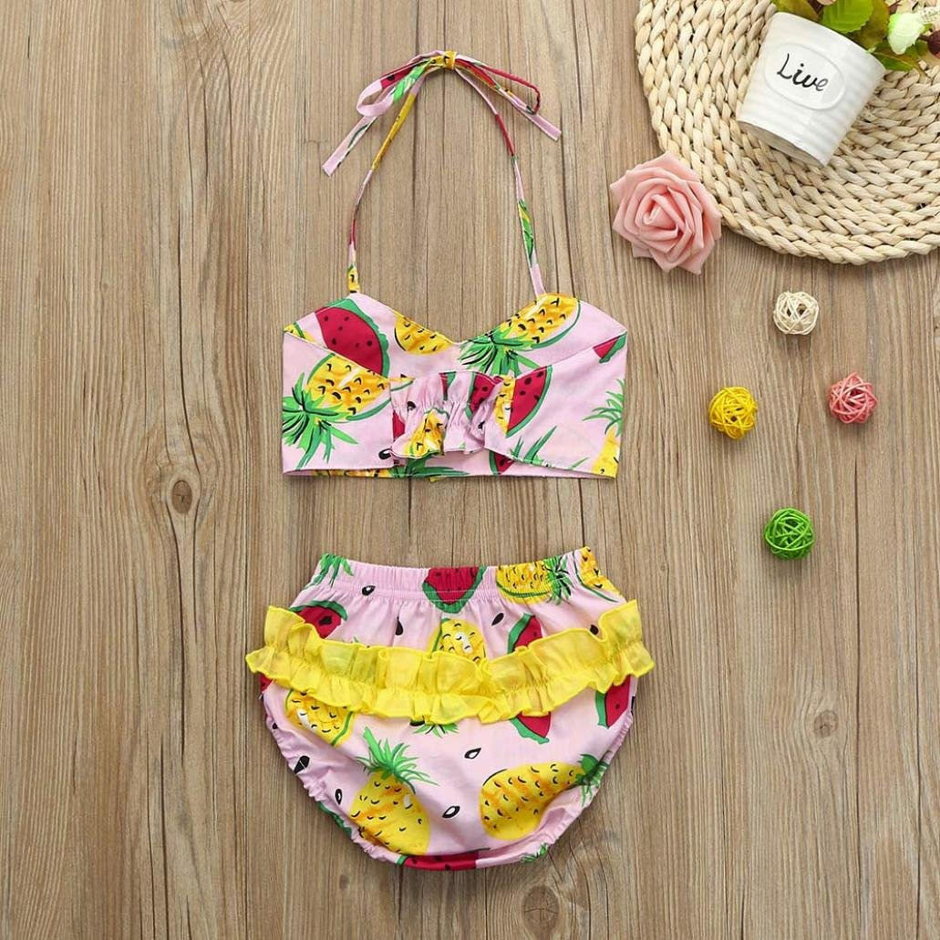 Moonker 2Pcs Infant Toddler Baby Girls Summer Sweet Straps Fruit Print Tops and Shorts Outfits Clothes Set 0-24M