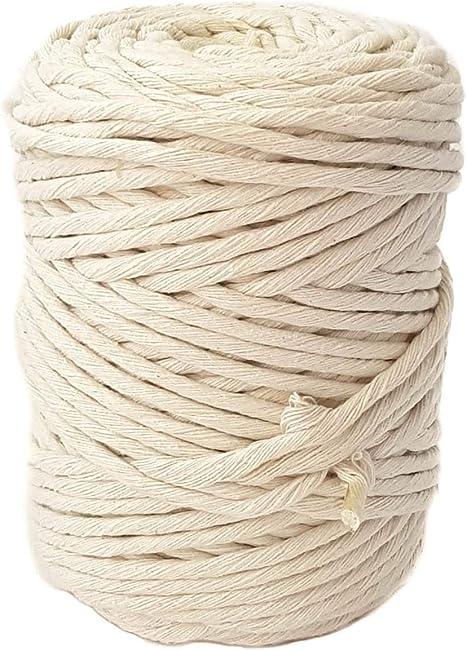 Cordón de algodón de una sola hebra de 5mm x 120m para macramé, cuerda de algodón para macramé, para colgar en la pared, para plantas y manualidades: Amazon.es: Hogar