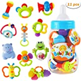 WISHTIME Baby rattles teethers for Newborn Toys,Gifts for Infants 11pcs with Hand Development Rattle Toys and Giant…