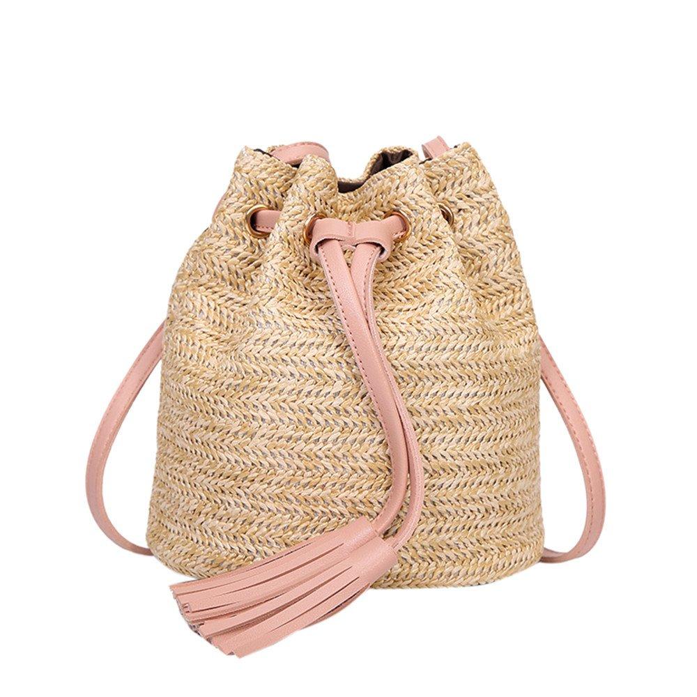 Danhjin Men Women Fashion Straw Solid Color High Capacity String Closure Weave Tassels Shoulder Bucket Bag