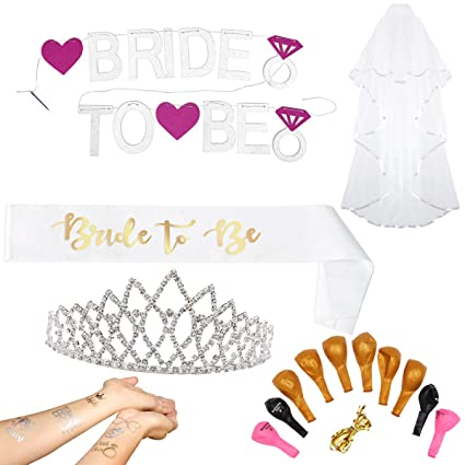 1258926bba6 Complete Bachelorette Party Decorations Set - Package of Bridal Shower  Accessories   Supplies Sash for Bride