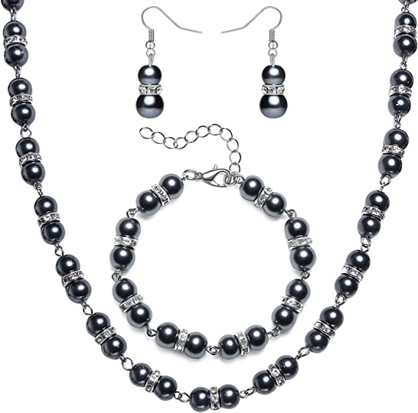 Amazon Com Babeyond 1920s Bridal Pearl Necklace Bracelet Earrings