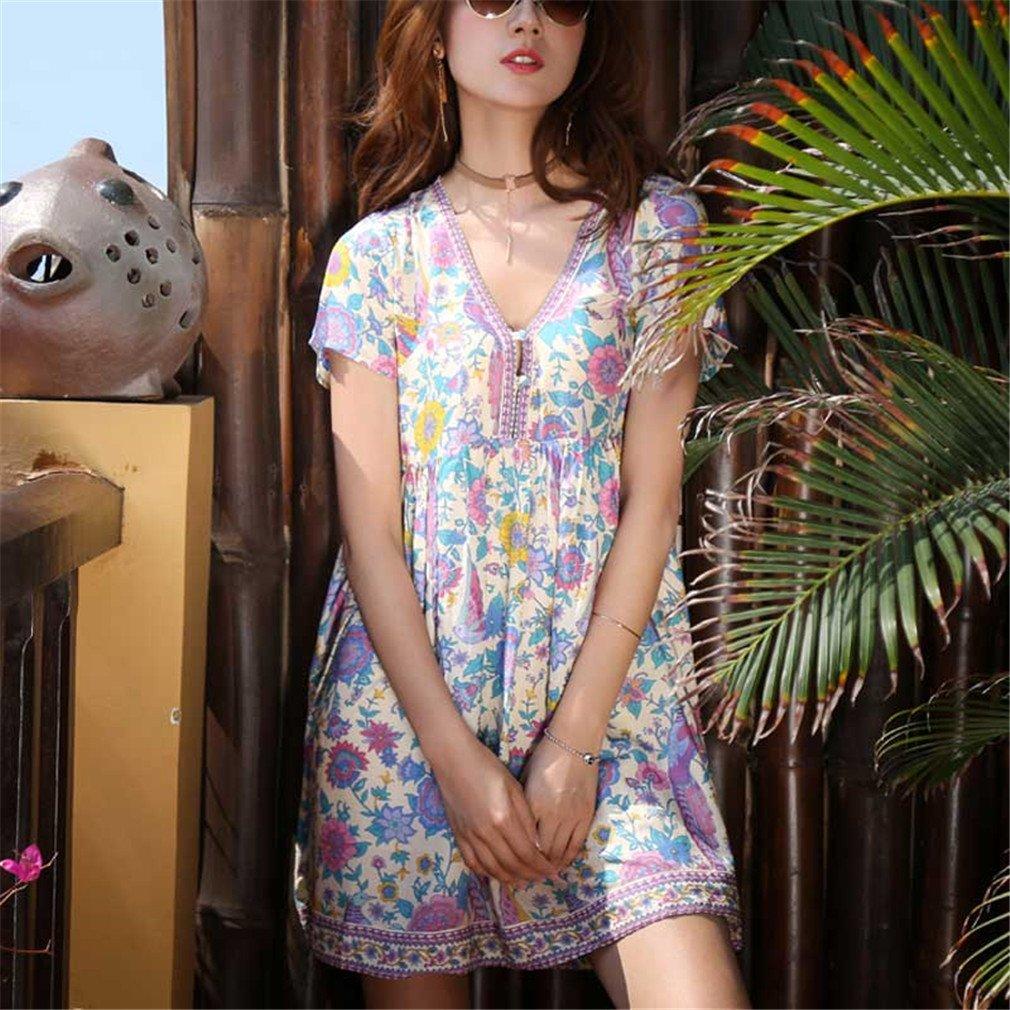 1700365a263e Boho Inspired Summer Dresses Floral Lovebird Print V-Neck Mini Casual Dress  Women Bohemian Hippie Chic Vestidos Clothing  Amazon.co.uk  Clothing