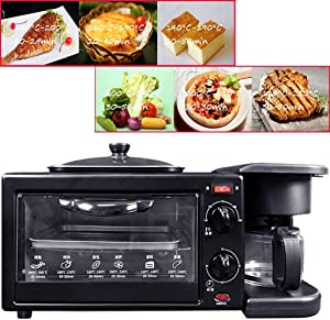 3 in 1 Smart Oven with Frying Pan-Coffee Maker, Multifunction Beach Natural Convection Toaster Oven, Microwave Oven with Grill, Baking Pan, Toast, Pizza,Black