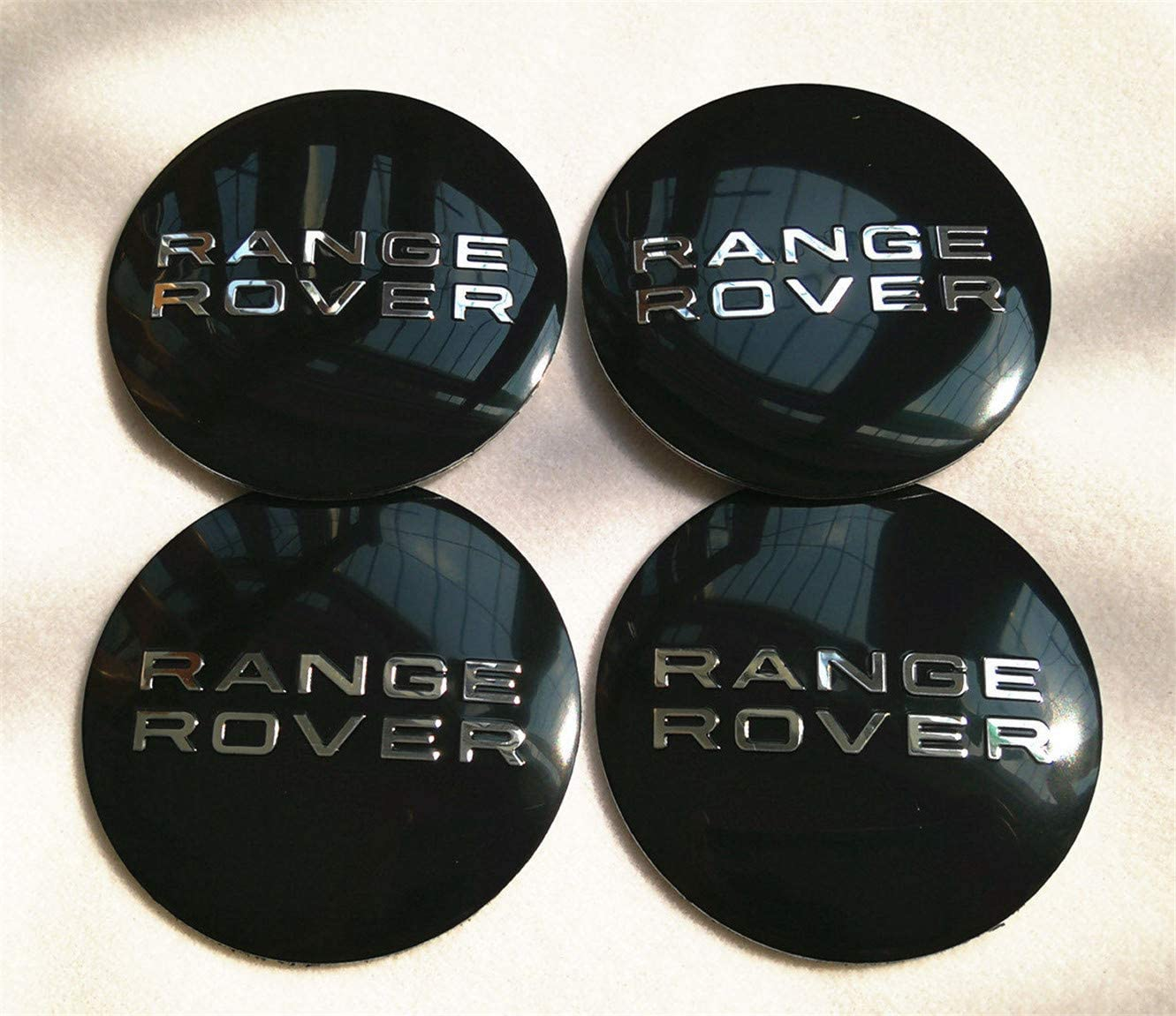 "4X 56mm 2.2"" Auto Car Wheel Center Cap Decal Sticker for Range Rover Black"
