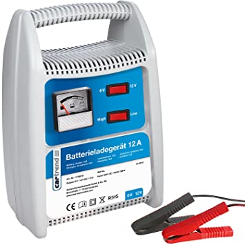 Cartrend 7740012 Cargador de baterías 12 Amperios, conmutable 6/12 Voltios