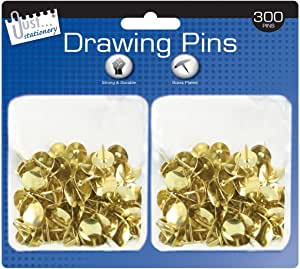300 Gold Colour, Domed Drawing Pins