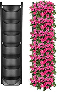 YSBER New Upgraded Deeper and Bigger 7 Pockets Vertical Wall Garden Planter Felt Wall Mount Planter Pouch for Yard Garden Home Decoration. (1 Pack-7 Pockets)