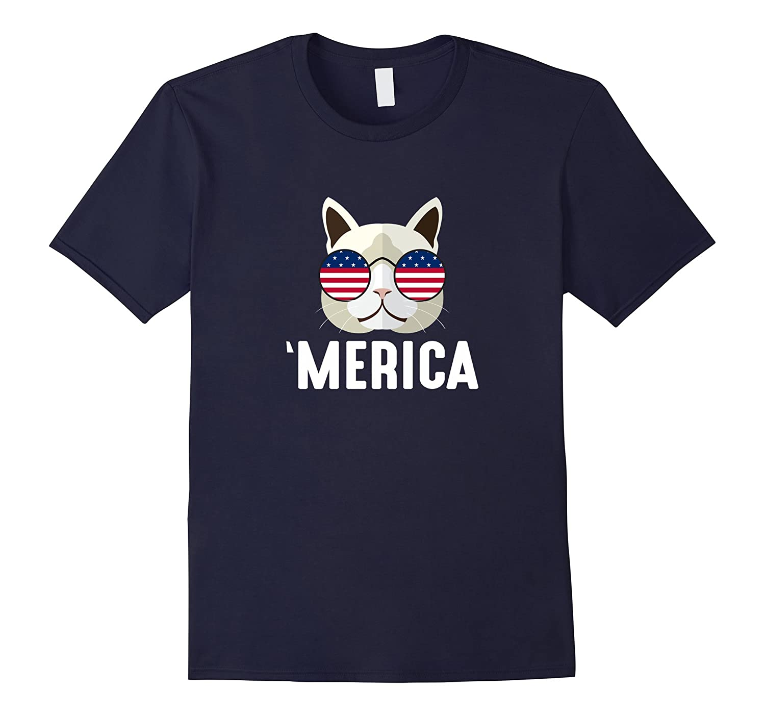 'Merica - Cat Flag Glasses - T-shirt-TH
