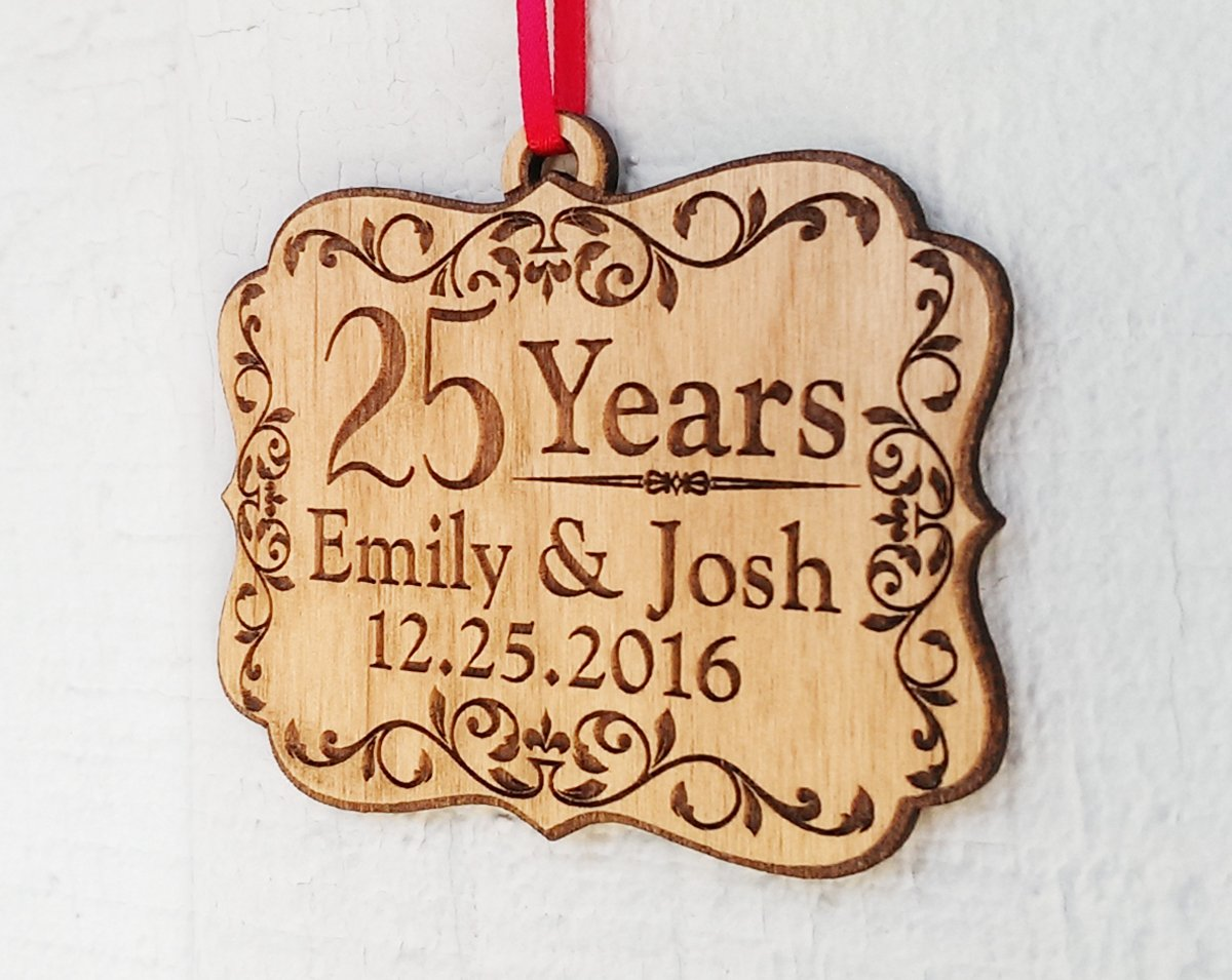 Personalized Anniversary Wood Ornament 25, 50, 60, 70 Years Togetherness of Marriage, Engagement 1 Year Married, Husband Wife, Couples Christmas Gift by Custom-Engraved-Glasses-by-StockingFactory (Image #3)