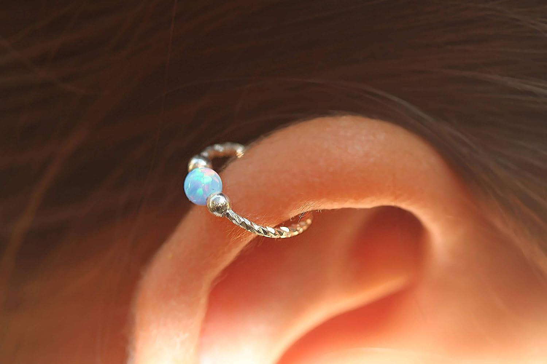 Cartilage Piercing Earring Hoop Silver Cartilage Hoop Pink Opal