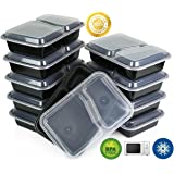 Green Direct (20 Pack) 2 Compartment Meal Prep Container Bento Box with Lid Leftovers 21 Day Fix Portion Control Black Bottom Clear Cover Microwave Safe Good for Kids Lunchboxes School Lunch