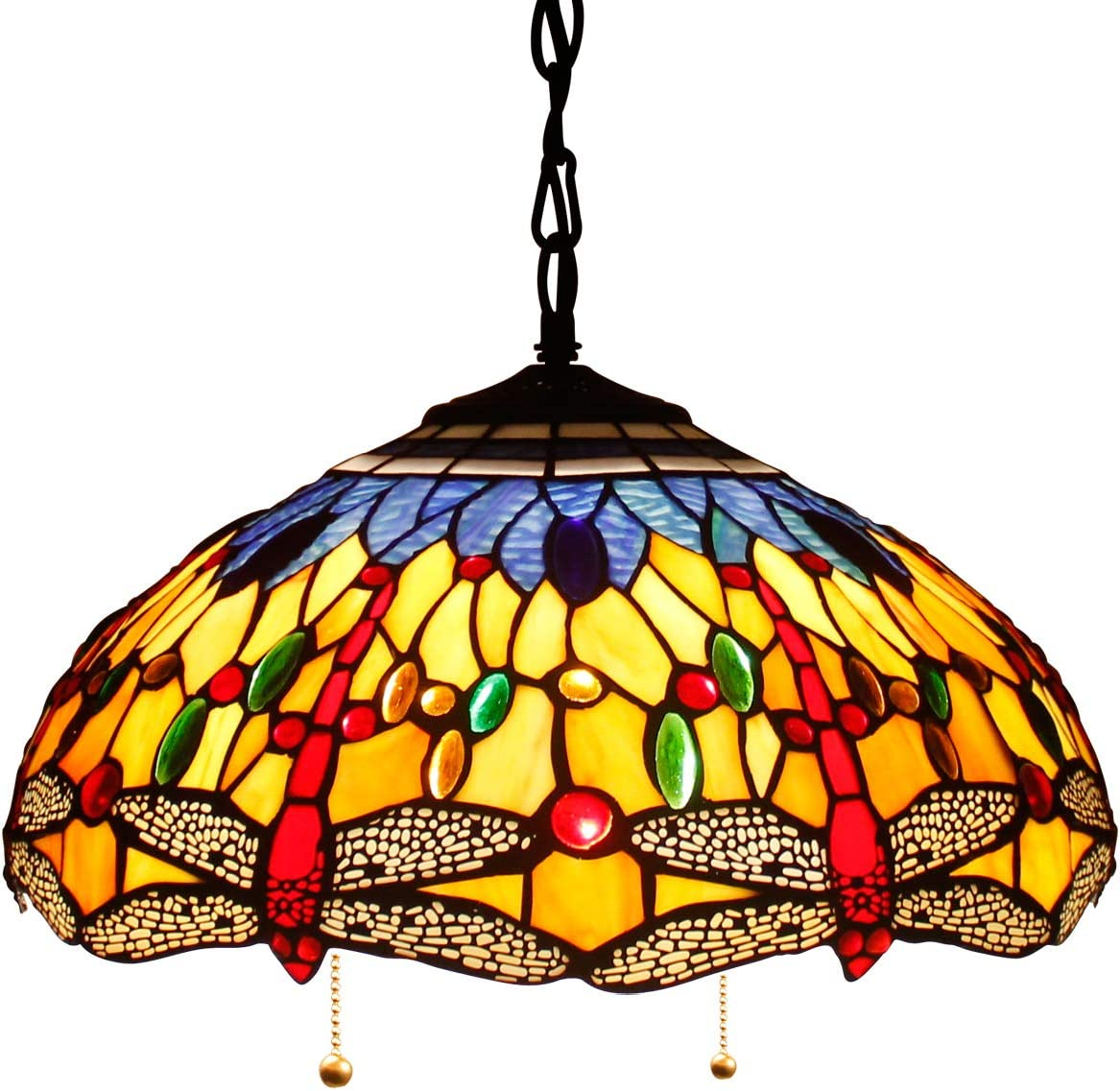 Tiffany Hanging Lamp 16 Inch Pull Chain Blue Orange Dragonfly Stained Glass Crystal Bead Lampshade Anqitue Style Pendant 2 Light Fixture for Dinner Room Living Room Bedroom S168 WERFACTORY