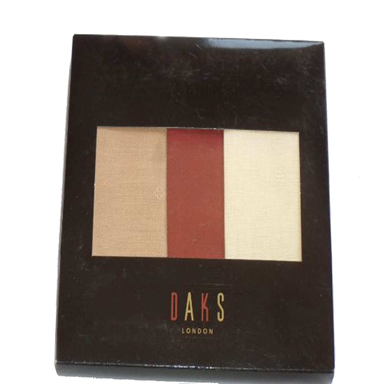 DAKS London Men's Red/Brown/Yellow Hankerchiefs Pochettes. Brand New In Box