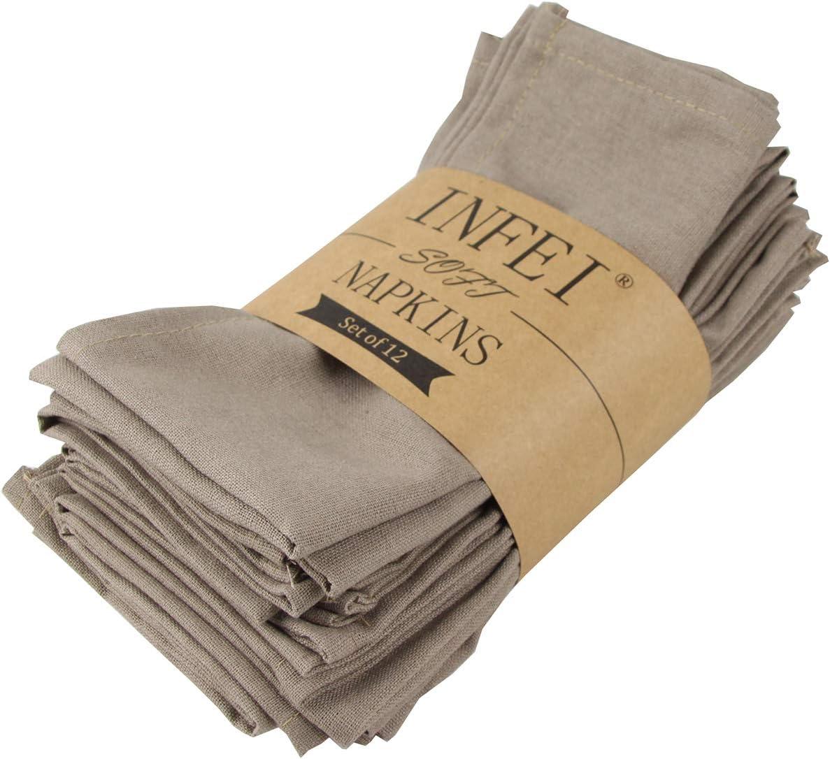 Infei Lot de 12 serviettes de table en lin et coton doux Couleur unie 40 x 40 cm kaki 40 x 40 cm Lin Polyester Coton