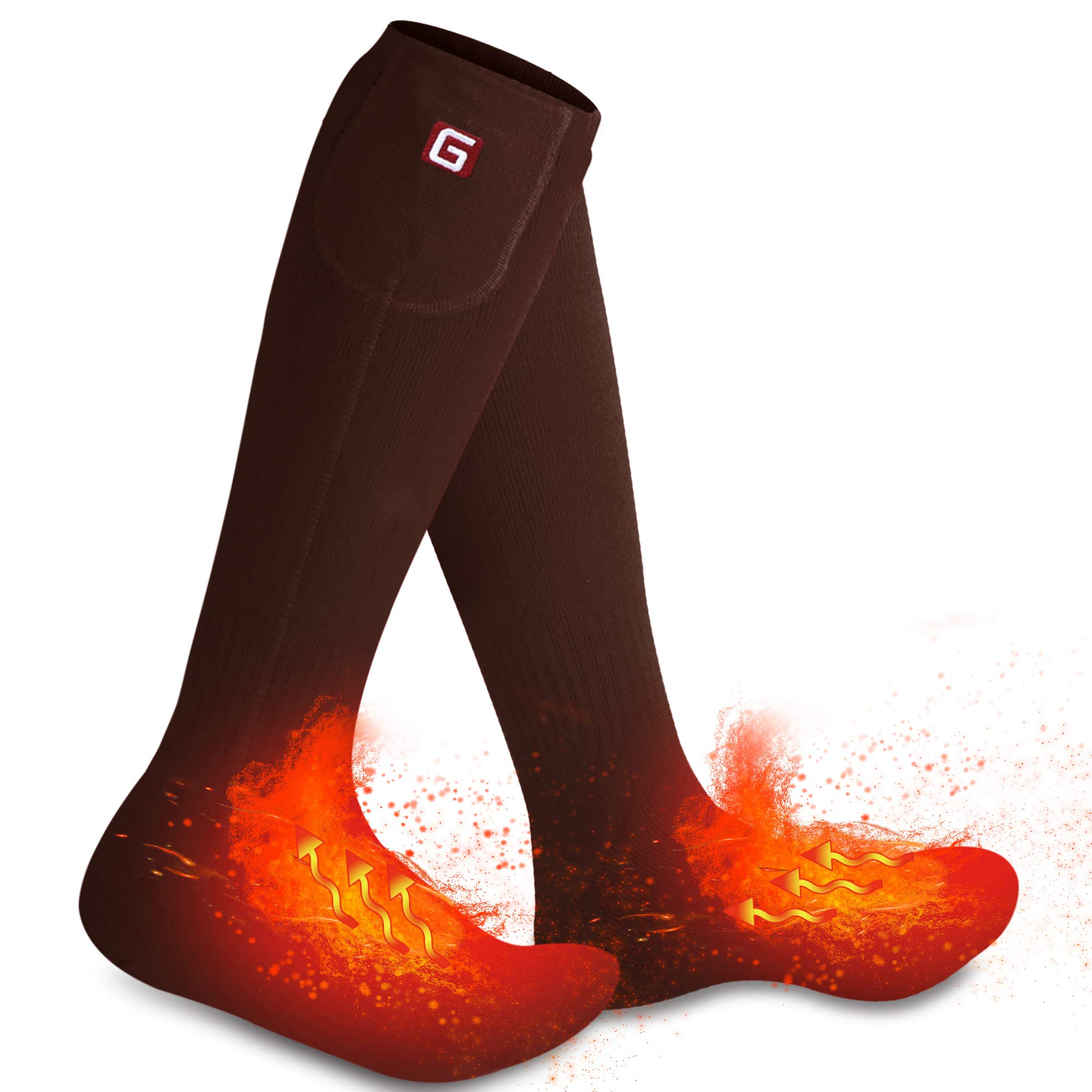 Rechargeable Electric Heated Socks,Men Women Battery Powered Heated Socks Kit,Winter Warm Thermal Heated Socks for Chronically Cold Feet,Novelty Sports Outdoors Camping Hiking Socks (Brown) by Autocastle