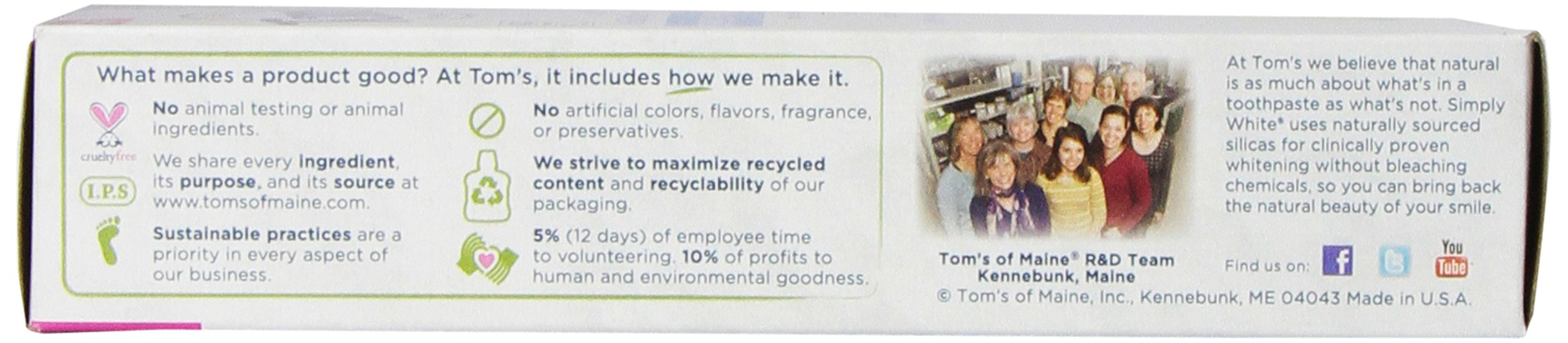 Tom's of Maine Natural Simply White Toothpaste, Sweet Mint Gel, 4.7 Ounce, Pack of 6 by Tom's of Maine (Image #3)