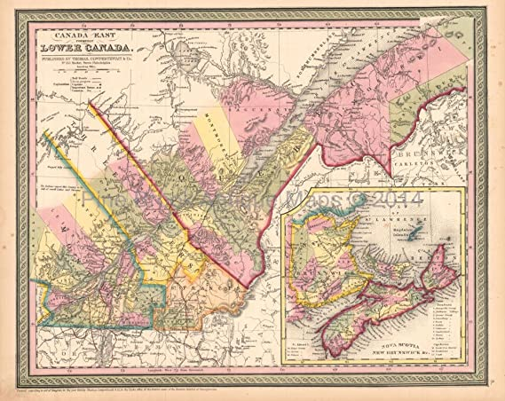 Map Of Canada History.Quebec Canada Lower Antique Map Desilver 1855 Original Canadian