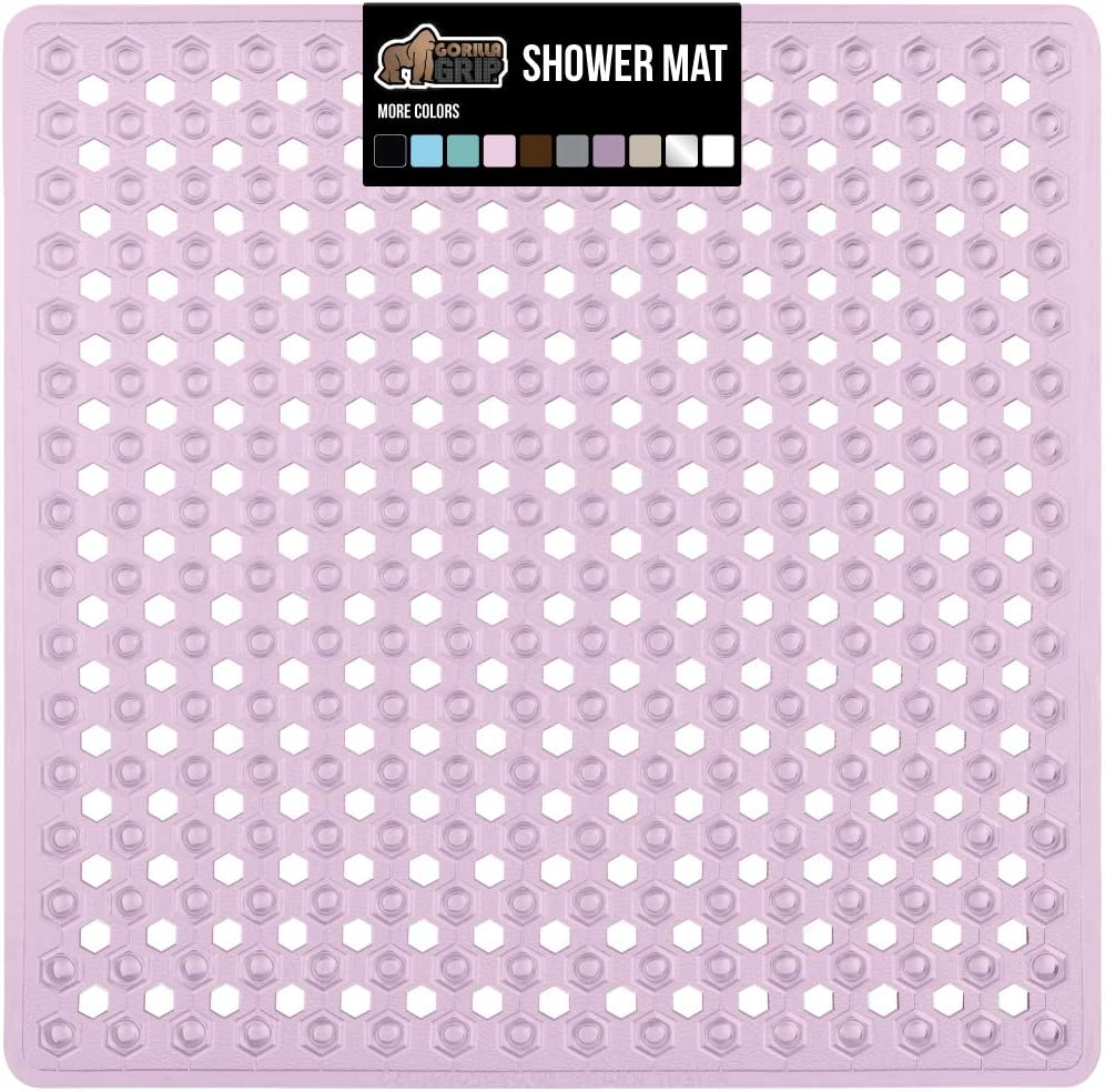 Bath Tub Mats Suction Cups Phthalate Free Gorilla Grip Original Patented Shower Stall Mat Square Bathroom Mats with Drain Holes Antibacterial Machine Washable 21x21 BPA Royal Blue Opaque