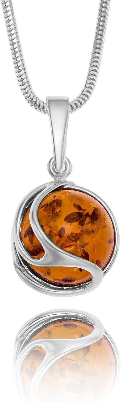 Copal Joya Collar con Ámbar, plata de ley 925, colgante Bola, con caja de joyas, idea regalo