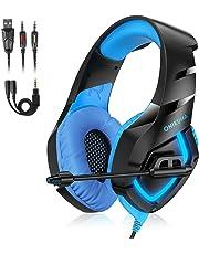 Auriculares Gaming PS4, Cascos Gaming con Micrófono de Mac Estéreo Juego Auriculares Gaming Ajustable con 3.5mm Jack y Luz LED Bajo Ruido Compatible con PS4 / Nintendo Switch / PC / Xbox One / Móvil