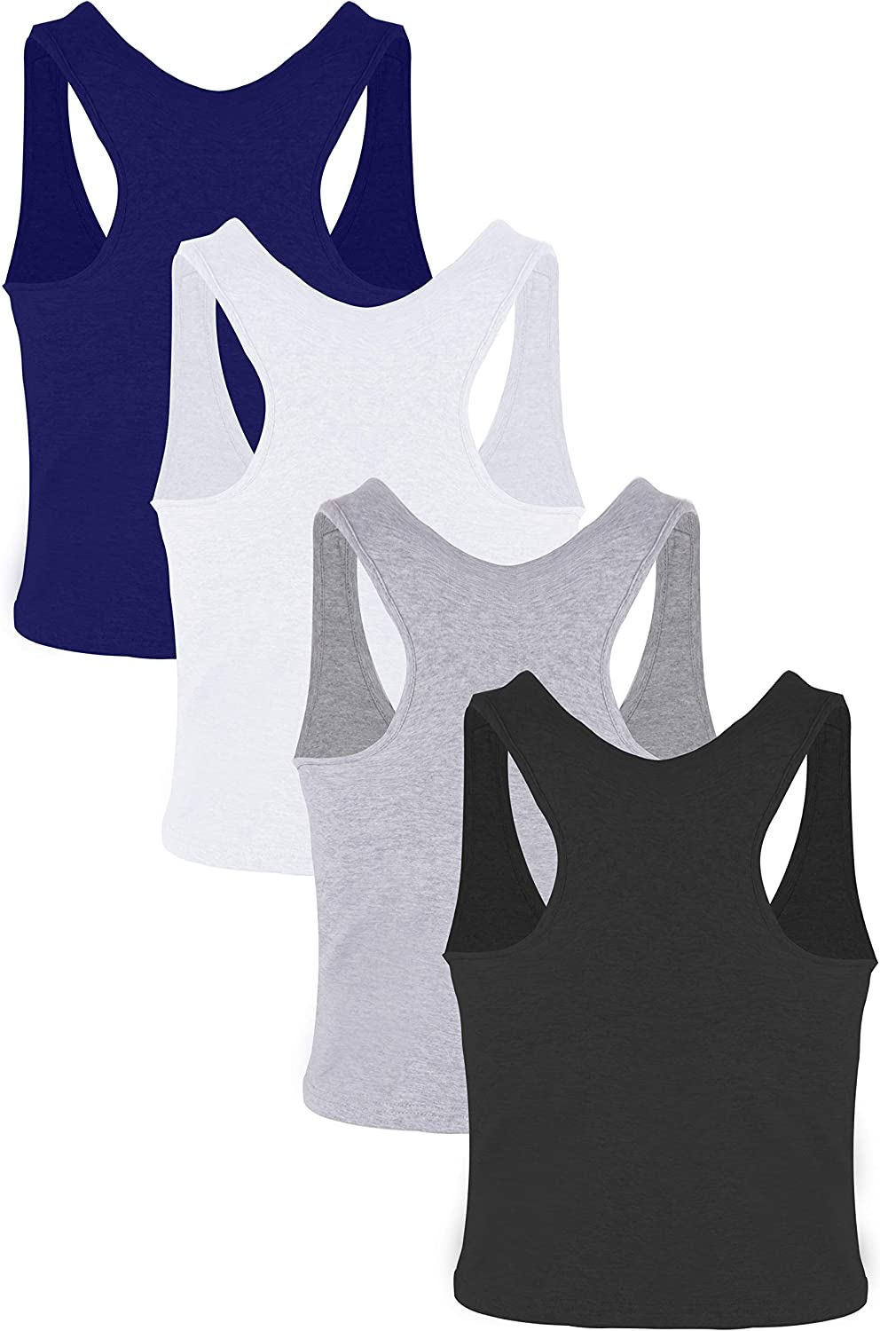 Suyye Women 4 Pieces Crop Tank Tops Yoga Raceback Sports Workout Bras Cotton Top