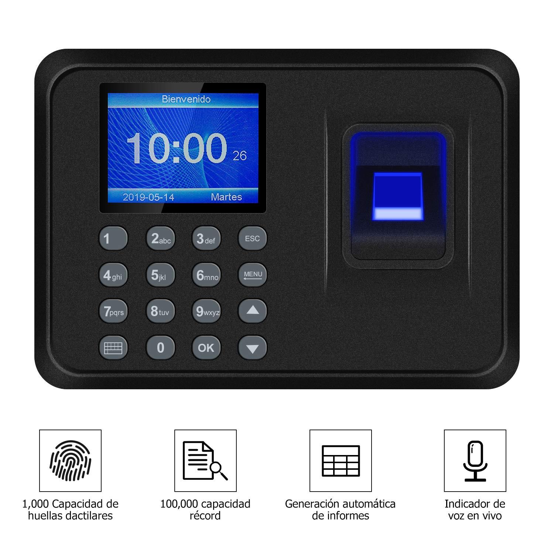 Maquina Asistencia Empleados de Fichar Huella Dactilar, 100.000 Registros, Relojes para Fichar de Sistema Española, 2.4 Pulgadas de Biometrico Huella