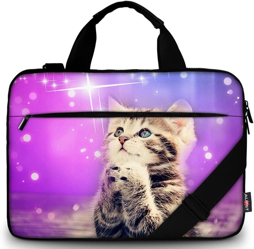 AUPET 11 11.6 12 12.5 12.9 13-13.3 inch Canvas Laptop Sleeve Bag Carrying Messenger Bag Briefcase with Handle and Adjustable Shoulder Strap & External Side Pocket,For ASUS/HP/DELL/Acer (Wish Cat)
