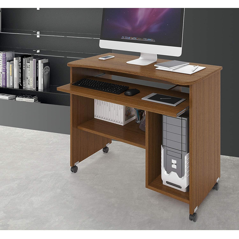 Small Scrivania Porta Computer con Ruote in Fibra di Legno nobilitato Dimensioni H76 x L93 x P48,5 Bianco