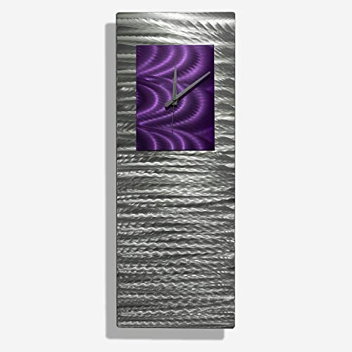 Mesmerizing Etched Silver Purple Jewel Tone Metallic Abstract Wall Clock