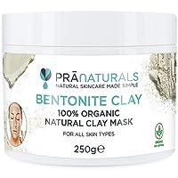 Masque à l'Argile de Bentonite PraNaturals 250g – Purifie naturellement la peau et des pores en profondeur - Poudre d'argile pure et de calcium montmorillonite – Masque facial de beauté 100 % biologique, détoxifiant, antivieillissement et thérapeutique