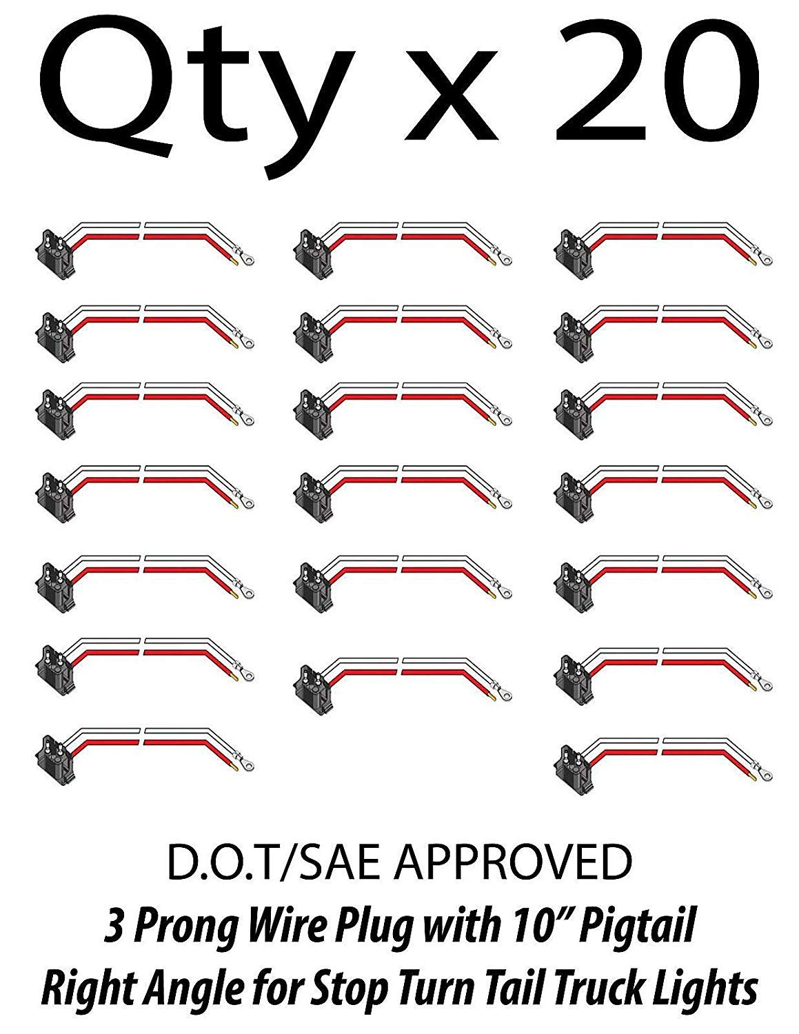 [ALL STAR TRUCK PARTS] 3 Prong Pigtail Wire Right Angle Plug for Truck Trailer Stop Turn Tail- Qty 20 by All Star Truck Parts