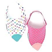 Bazzle Baby Banda Teething Bib - Bandana Bib for Babies - Sore Gum Relief and Drool Bib - Sweetheart 2 Pack
