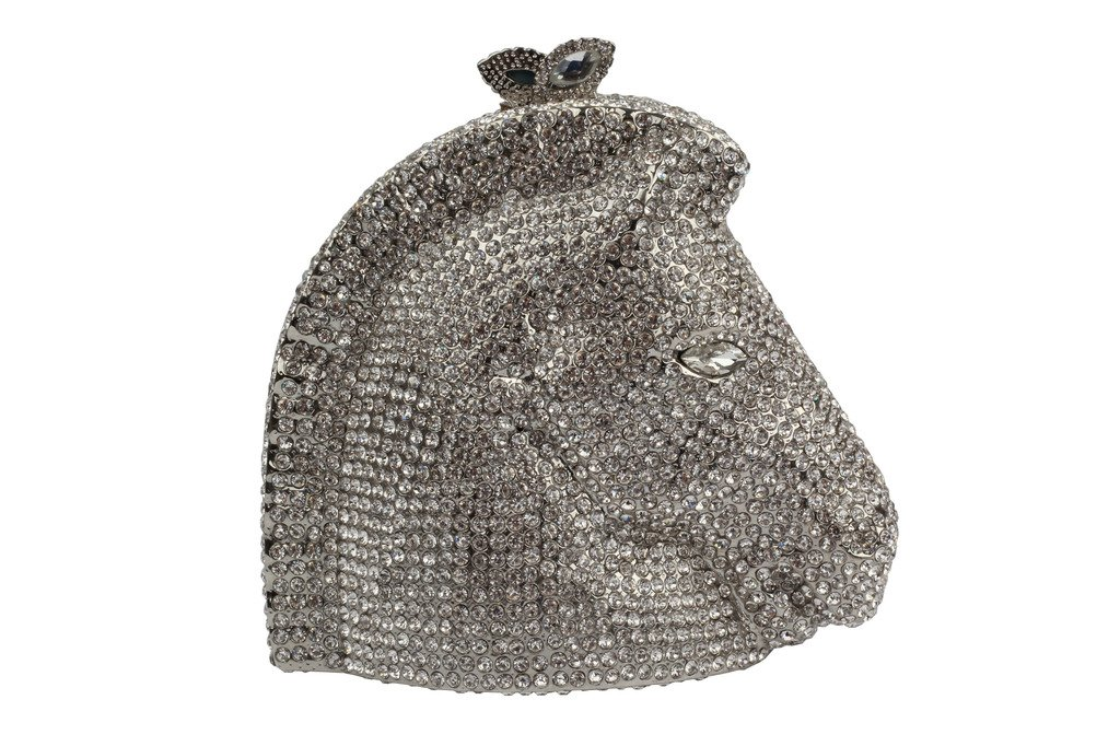 YILONGSHENG Horsehead Style Women Prom Bags With Crystal EB0638 Silver by YILONGSHENG