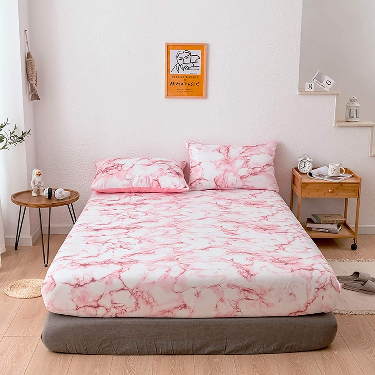 WUJIE Pink Marble Sheets for Full Size Bed Deep Pockets Fitted Sheet and Pillowcase Set Soft Sheets (1 Fitted Sheet,2 Pillowcases)