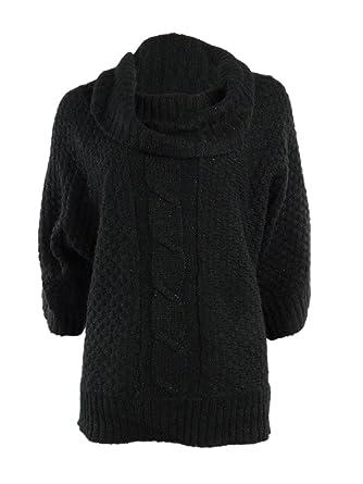 Elementz Womens Metallic Cowl Dolman Cable Knit Sweater M Black