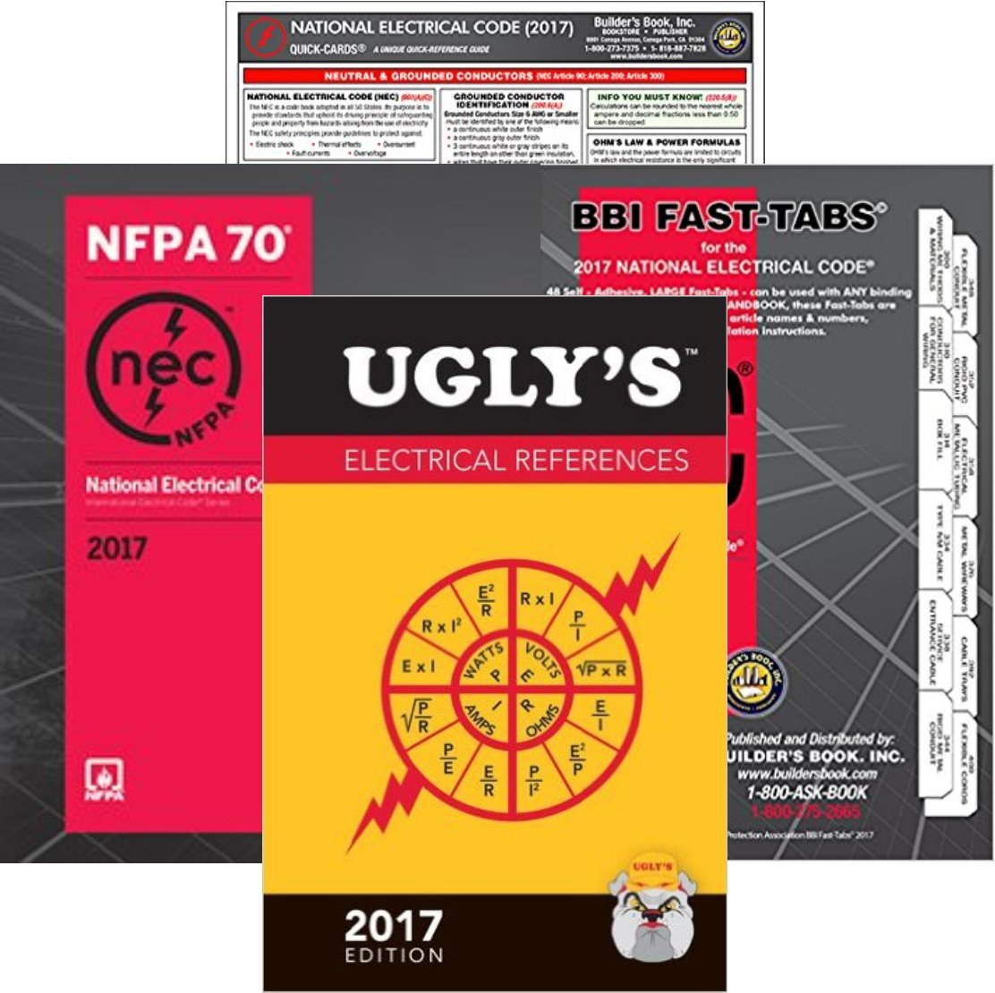 2017 NFPA 70 National Electrical Code, NEC, Paperback, NEC Fast Tabs, Quick Card and Ugly's Electrical References, 2017 Edition, Package