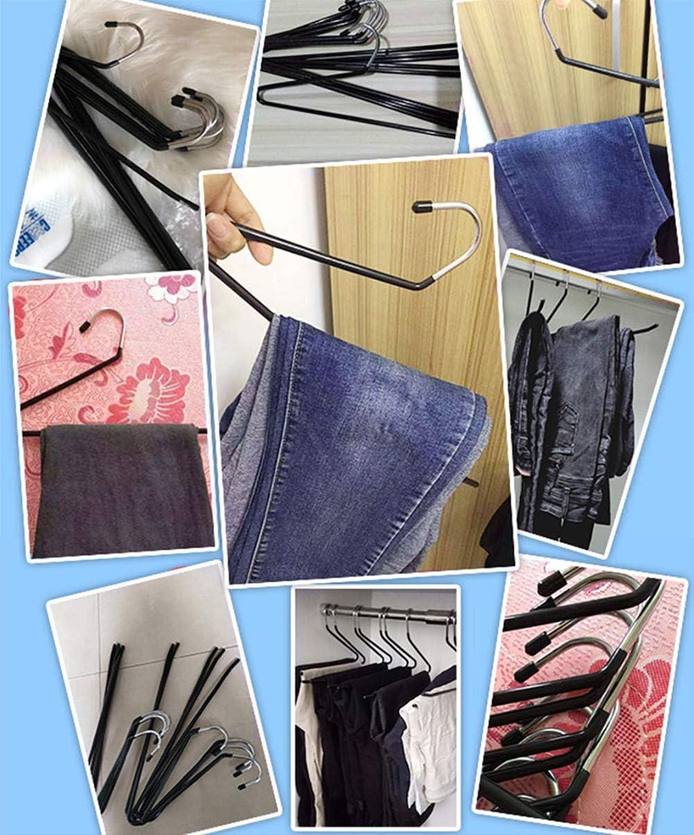 Benooa Perchas para Pantalones con Final Abierto 12 Perchas para Pantalones Recubrimiento de Goma Antideslizante Ahorro de Espacio Duradero de Metal Cromado Antioxidante para Jeans,Armario Black
