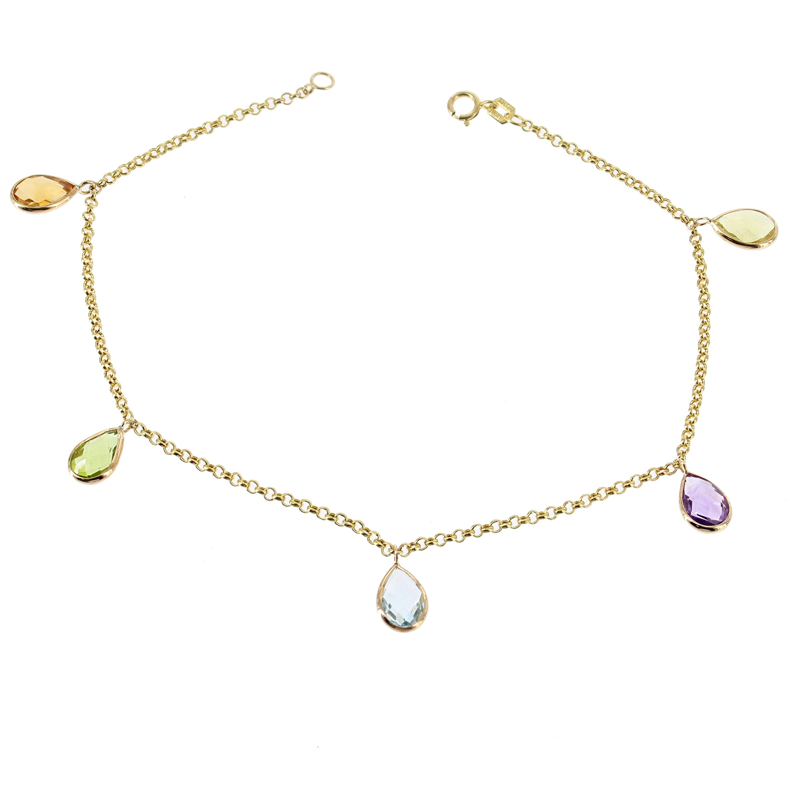 14K Yellow Gold Gemstone Anklet Bracelet With Hanging Gemstones 9 -11 Inches