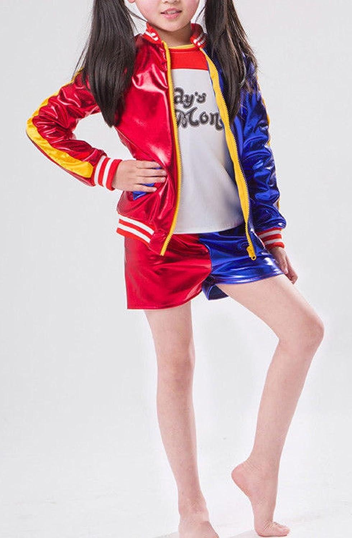 janisramone Girls Kids New Red Blue Misfit Suicide Squad Halloween Costume Shiny Wet Look Jacket Leggings Pants