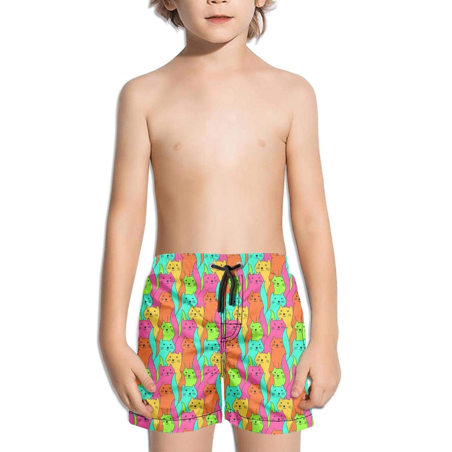 Cute Cat Pizza Taco Boys Girls Swimming Trunks Beach Board Shorts Fully Lined Absorbent Printed Graphic Kids Short Pants