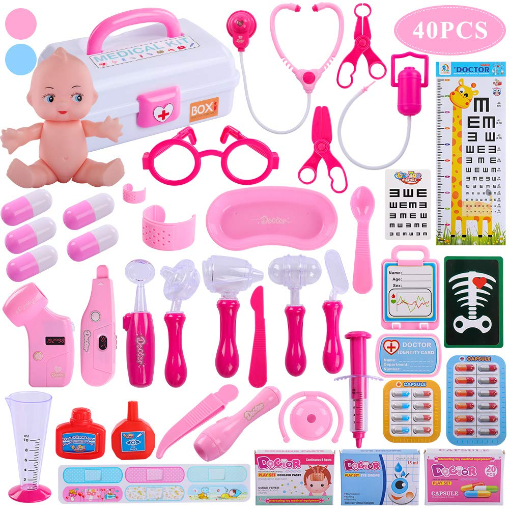 TEMI Doctor Medical Kit, 40 PCS Pretend Play Set w/ Doll n Carrying Case, Light Up Electronic Stethoscope Dentist Nurse Toys Educational Learning Role Play Gifts for Kids, Toddlers, Boys & Girls, Pink