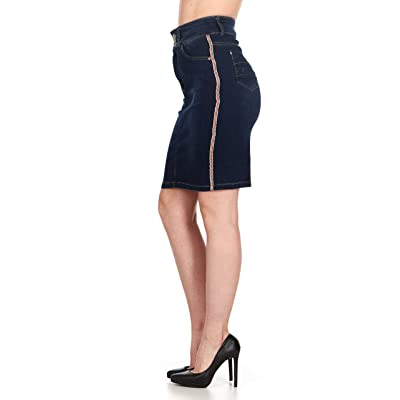 "No Fuze High Waist Casual Women's Stretch Knee Length Denim Skirt 23"" at Women's Clothing store"