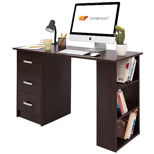 Comifort T04W – Escritorio Con Cajones y Estantes, Mesa De Oficina, Escritorios De Despacho, 120x49x72 Cm, Color Wengué